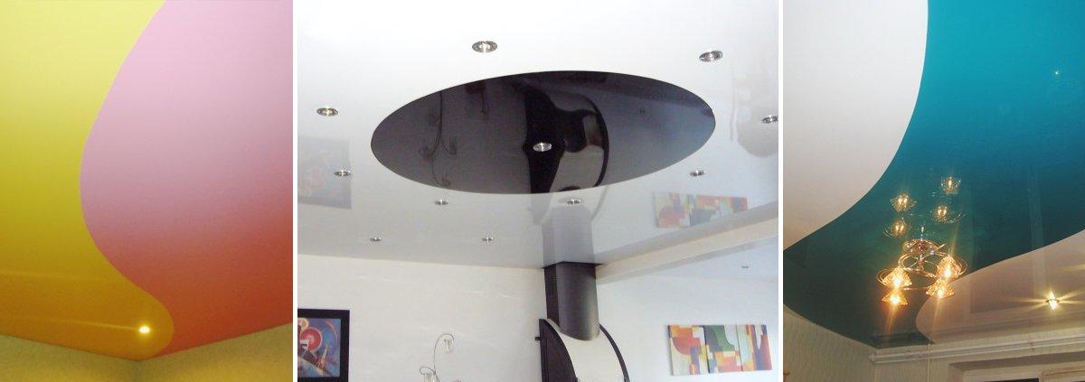 Одноуровневые натяжные потолки двух цветов