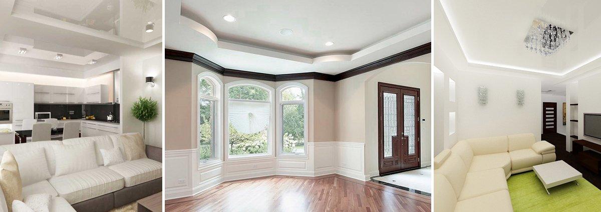 Двухуровневый натяжной потолок белого цвета